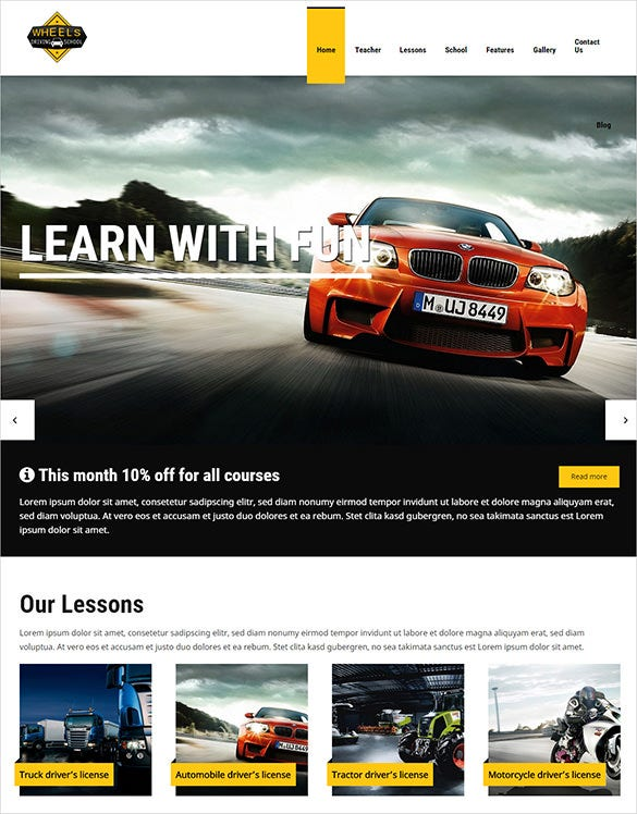 9  driving school wordpress templates  u0026 themes
