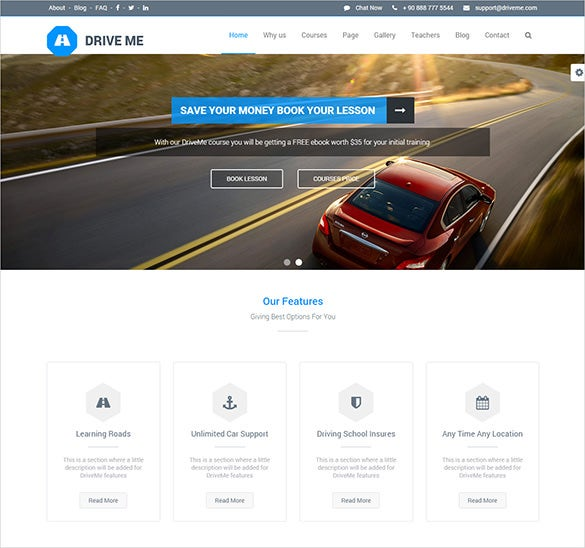 wide layout driving school wordpress theme