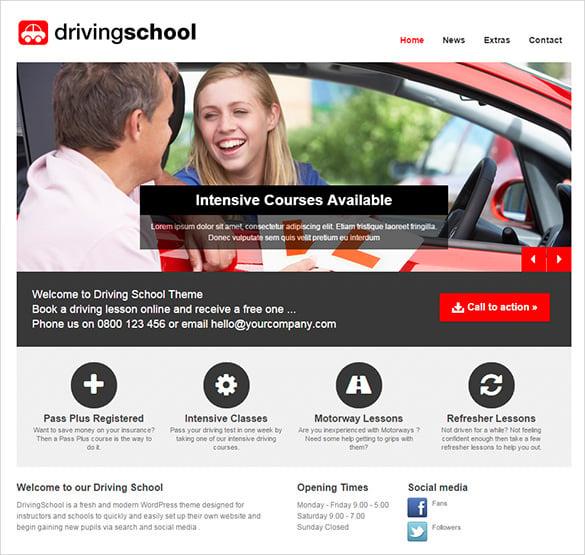 professional driving school wordpress theme