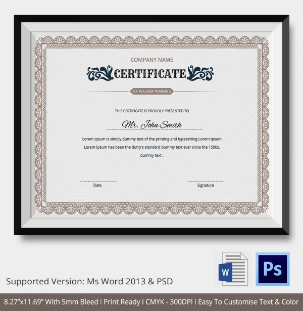 Training Certificate Template 21 Free Word PDF PSD Format – Performance Certificate Template