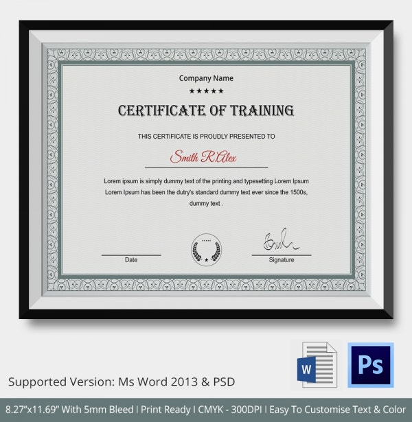 Training Certificate Template   Free Word Pdf Psd Format