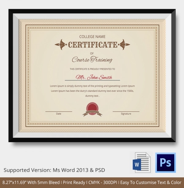 Training Certificate Template 21 Free Word PDF PSD Format – Cooking Certificate Template
