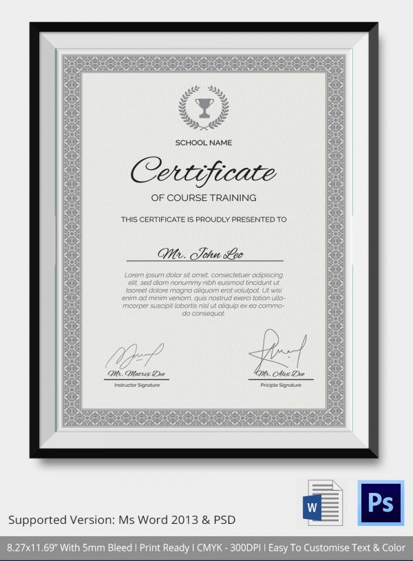 School Training Cource Certificate Template