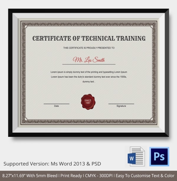 Training certificate template 14 free word pdf psd format technical training certificate template yadclub Images