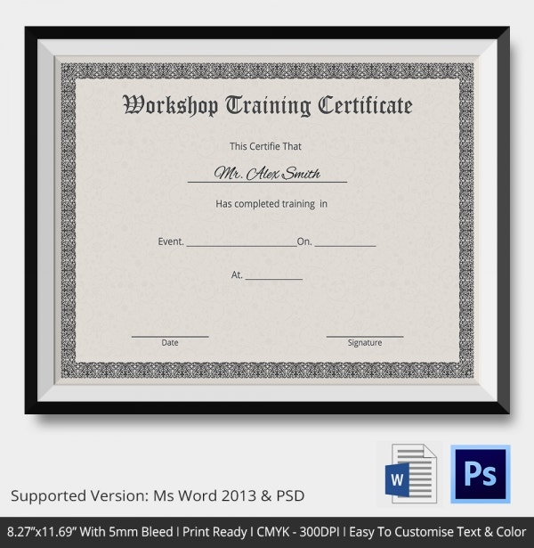 Training Certificate Template 21 Free Word PDF PSD Format – Training Certificate Sample