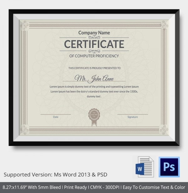 Diploma certificate templatefree word pdf psd eps indesign computer training certificate template yadclub Choice Image