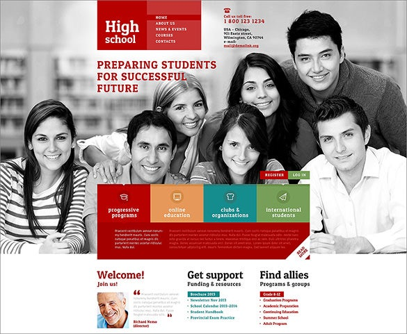 grey background wordpress theme for high school1