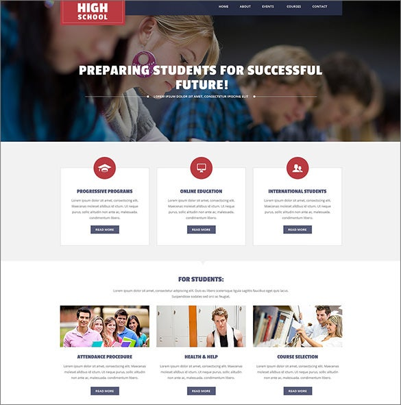 3 columns wordpress theme for high school1