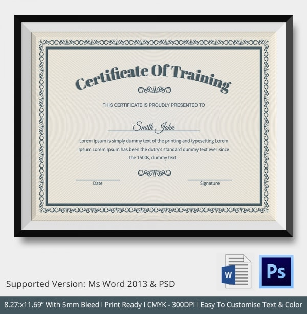 Training Certificate Template 21 Free Word PDF PSD Format – Training Certificates Templates Free Download