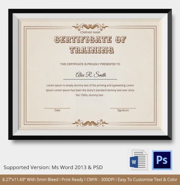 Training certificate template 14 free word pdf psd format best training certificate template yadclub Gallery