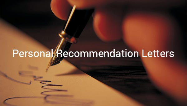 personal recommendation letters