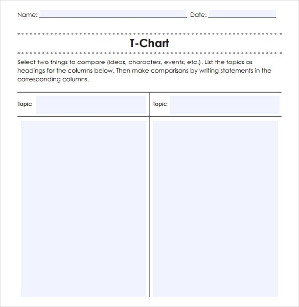 T Chart In Word Resume Templates – Examples of T Charts