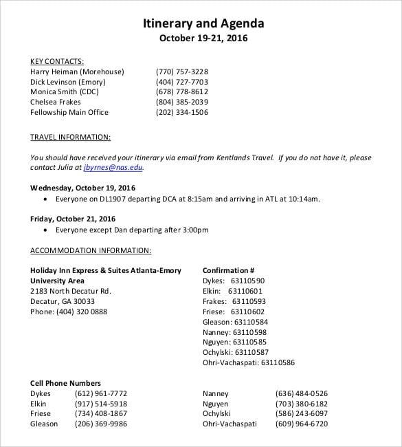 itinerary schedule agenda1