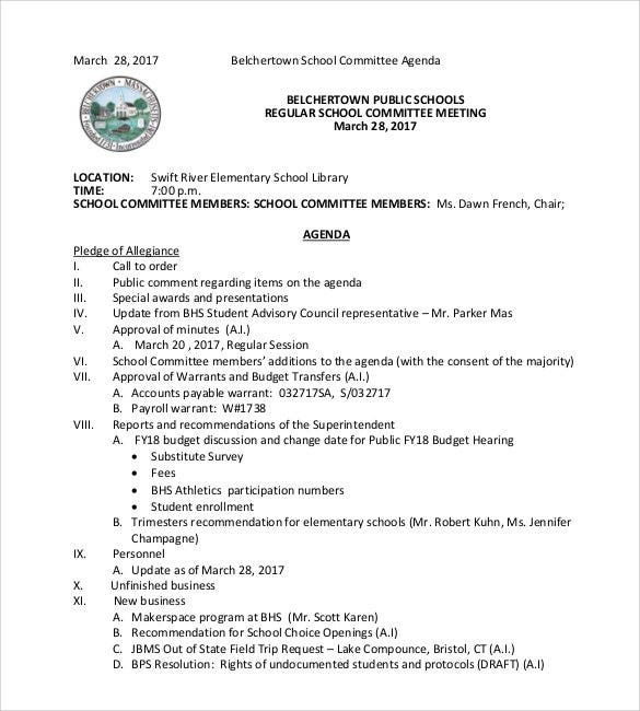 Simple School Committee Agenda Format  Format Of An Agenda