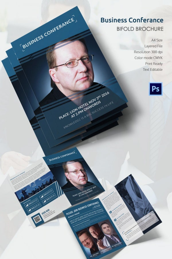 Conference Brochure Templates Free PSD EPS AI InDesign - Bi fold brochure template indesign
