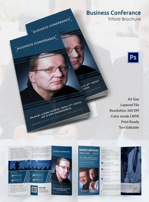 A3 Tri Fold Business Conference Brochure