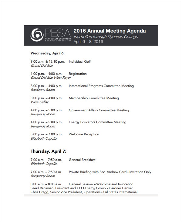 annual meeting agenda template