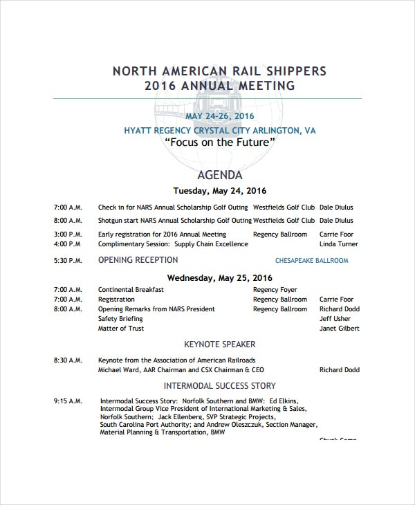 rail shippers annual meeting agenda template