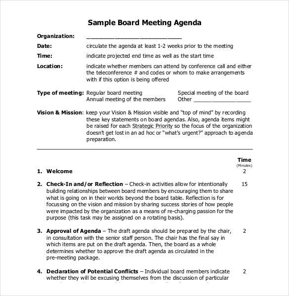 example of board meeting agenda template