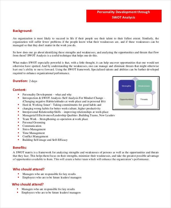 Personal Swot Analysis Template   Examples In Pdf Word  Free
