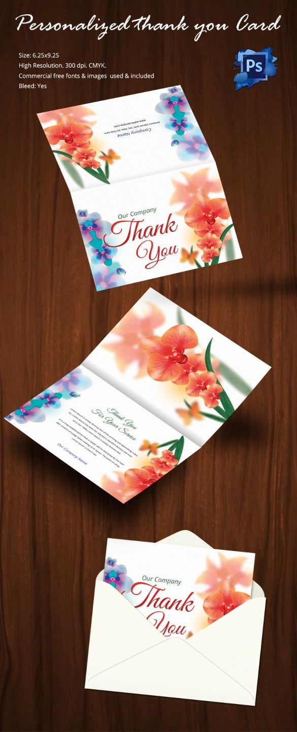 Flexible Bi Fold Personalized Thank You Card Template  Microsoft Thank You Card Template
