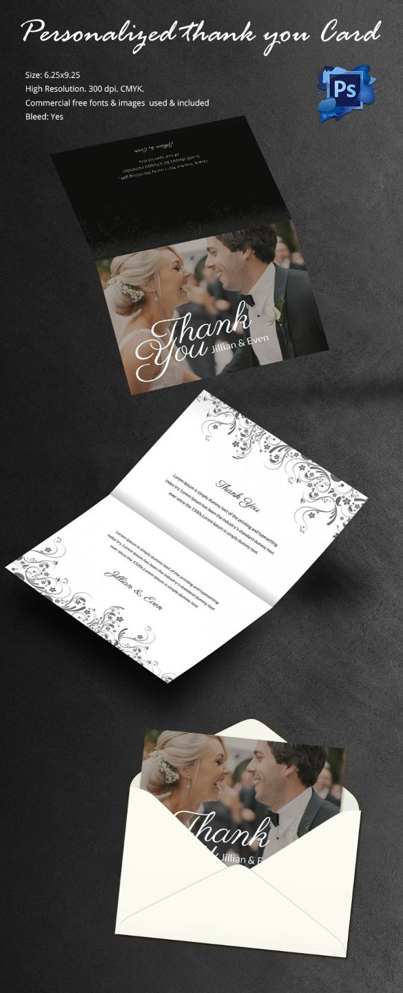 Attractive Personalized Bi Fold Thank You Card Template  Microsoft Thank You Card Template