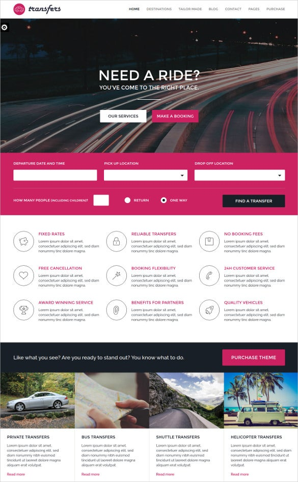 transport car hire html responsive website template