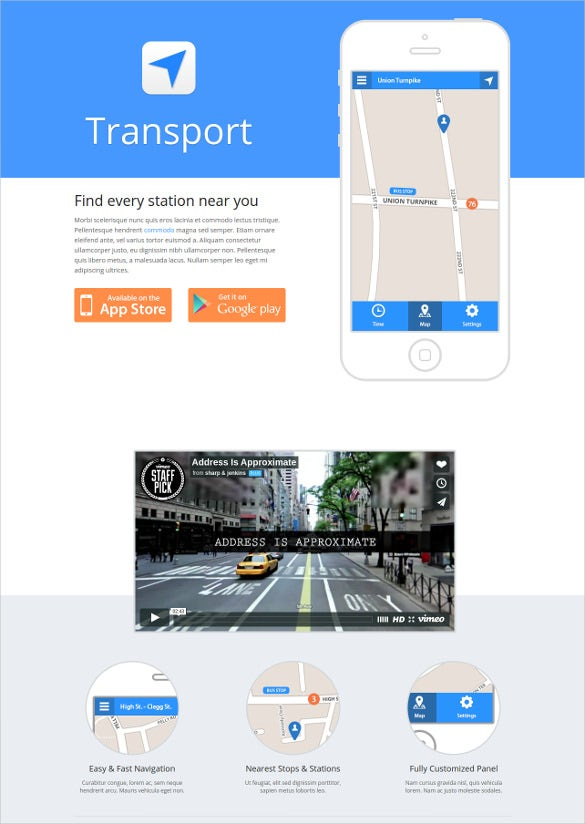 one page website transport app template