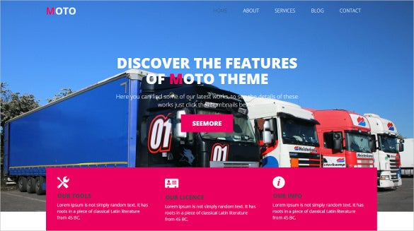transport category bootstrap responsive free template1