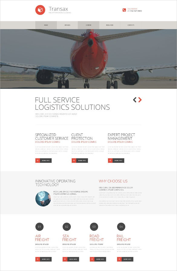 white background website transportation services template