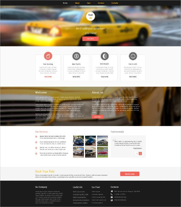 cab taxi responsive website template1
