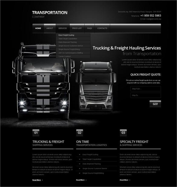 transportation company website template