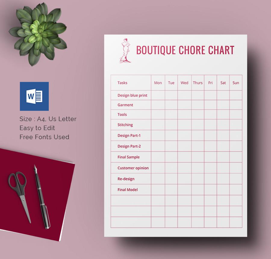 Boutique Chore Chart Template