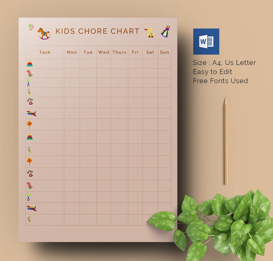 Kids Weekly Chore Chart Word Template Download