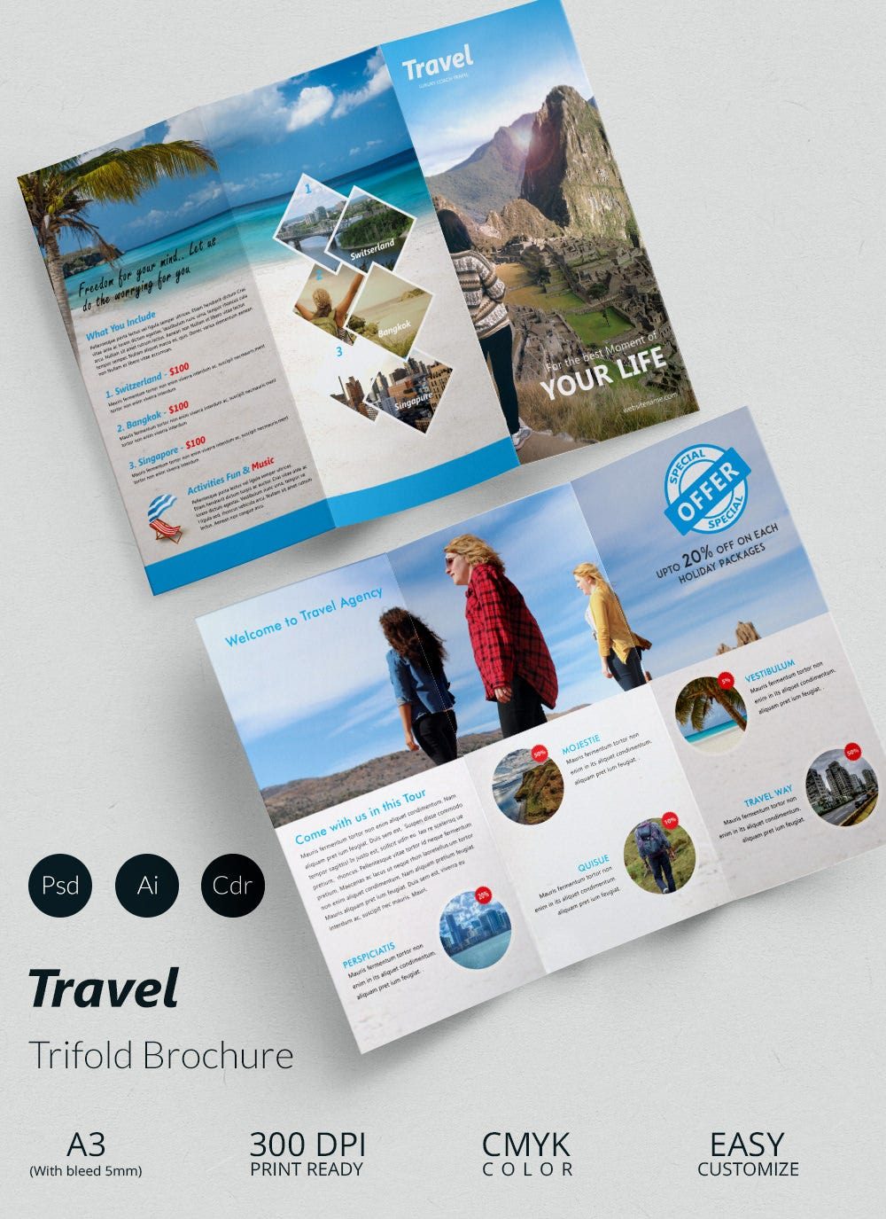 Travel A3 Trifold Brochure Template