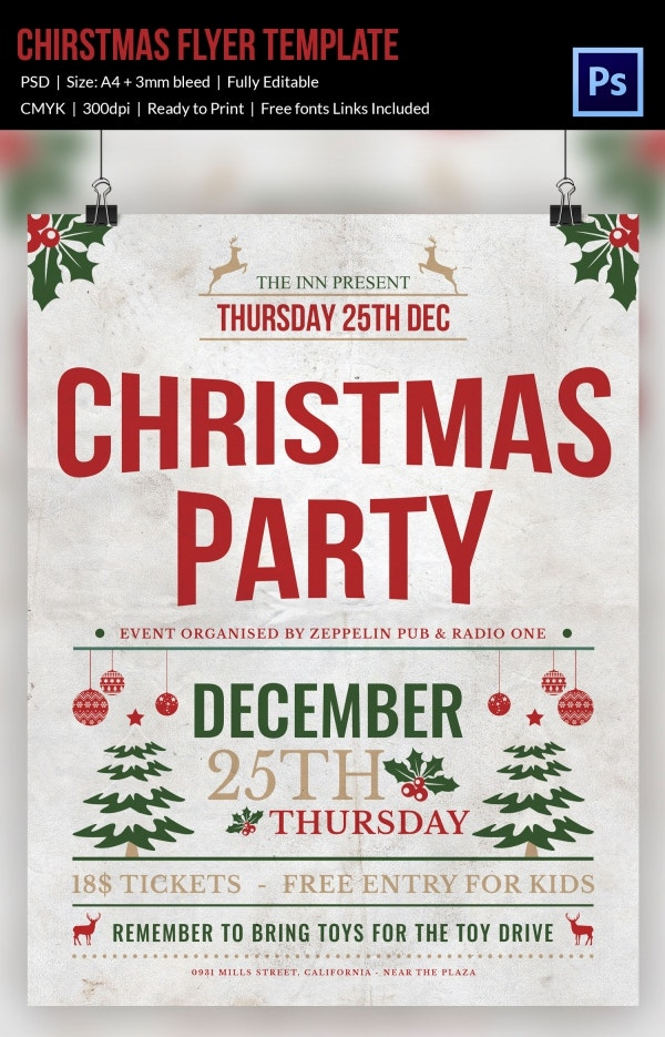 Christmas Party Flyer Design Template PSD Fully Editable