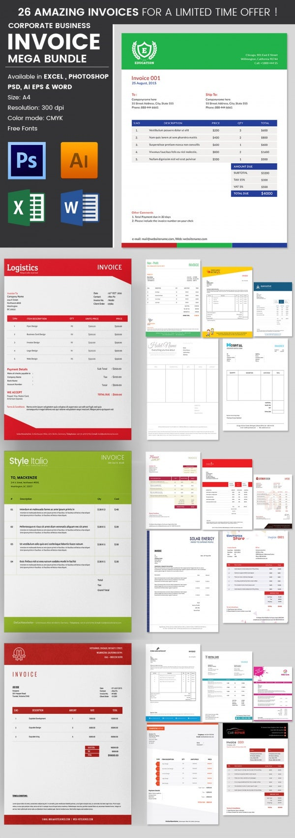 travel invoice templates word excel pdf format 26 business invoice templates bundle in 4 different formats
