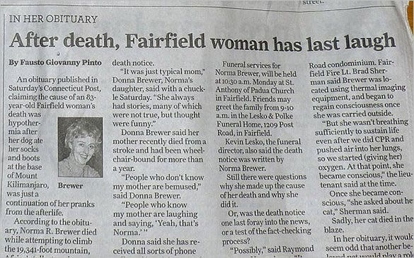 joke obituary example