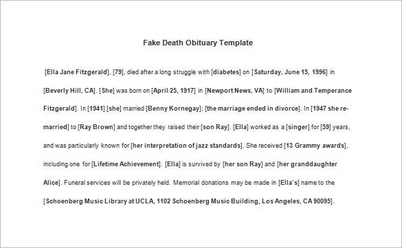 Death Obituary Template – 13+ Free Word, Excel, Pdf, Psd Format