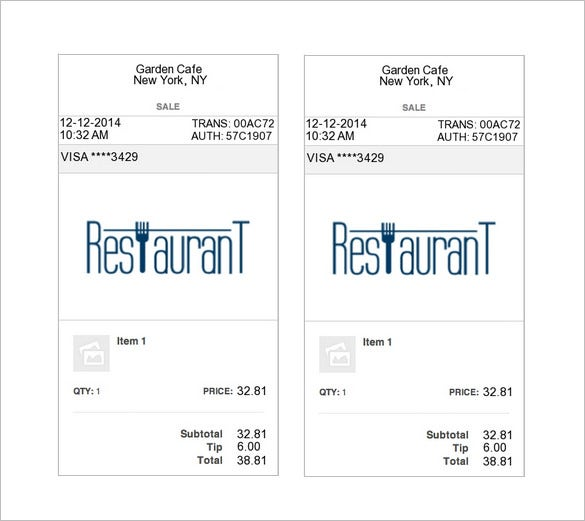 Restaurant Receipt Template 5 Free Word Excel PDF Format – Itemized Receipt Template