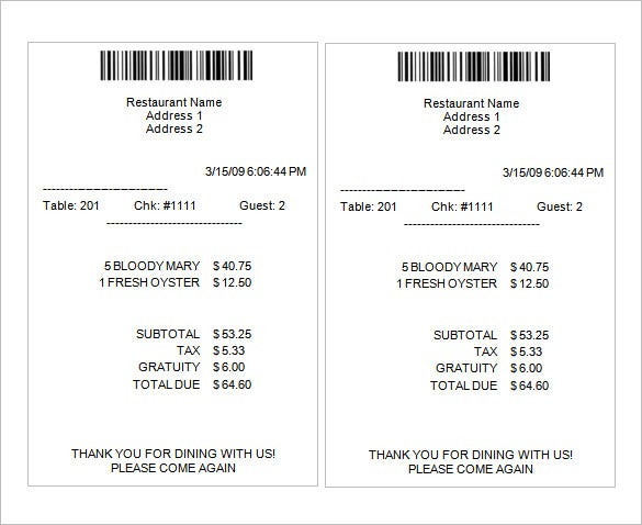 Sample Receipt Template 6 Free Word Excel PDF Format Download – Sample Receipts