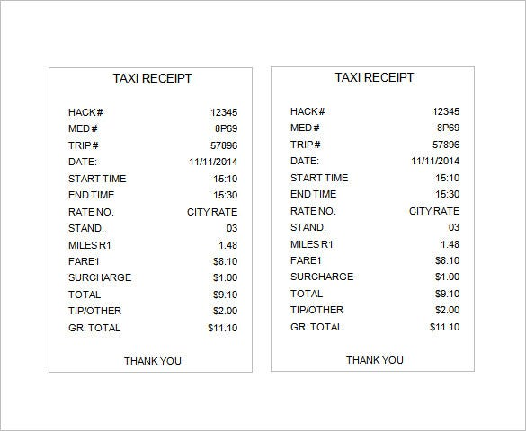 Sample Receipt Template 6 Free Word Excel PDF Format Download – Taxi Bill Format in Word