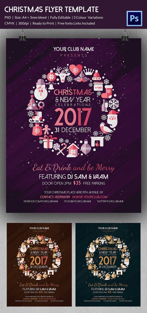 30 christmas flyer templates psd vector format download free christmas event flyer template photoshop download pronofoot35fo Image collections