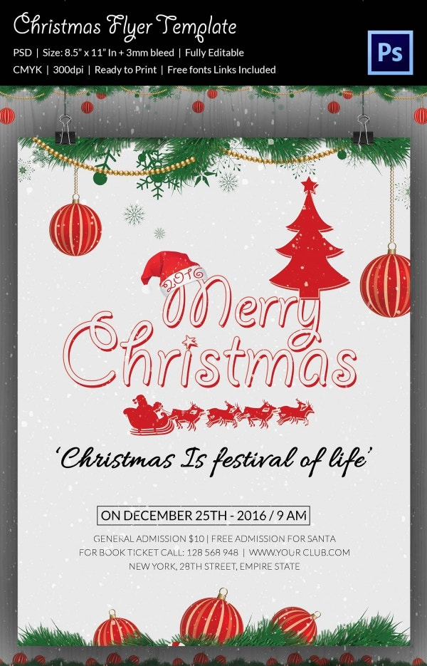 Christmas Party 3D Flyer Template PSD Download
