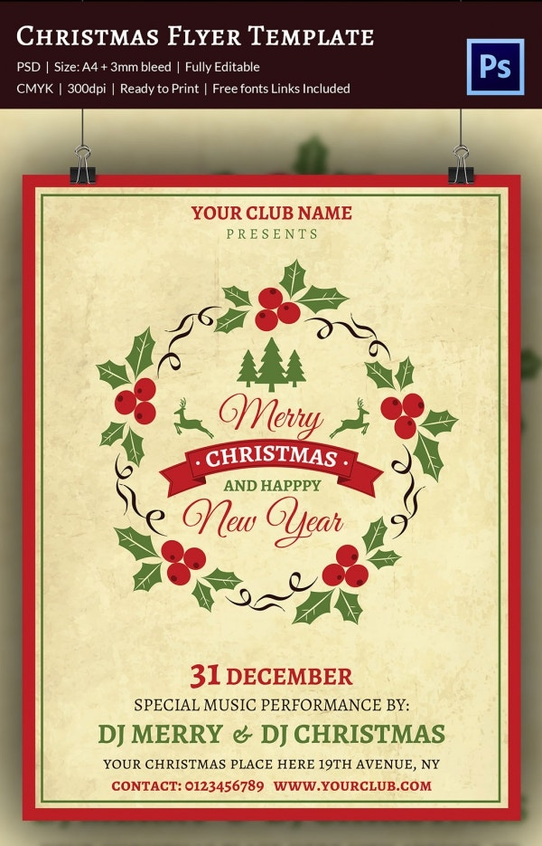 a flyer template for christmas new year celebrations