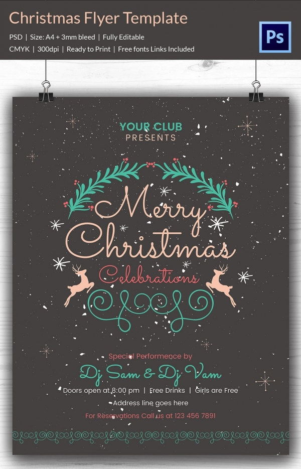 60 christmas flyer templates free psd ai illustrator for Christmas brochure template