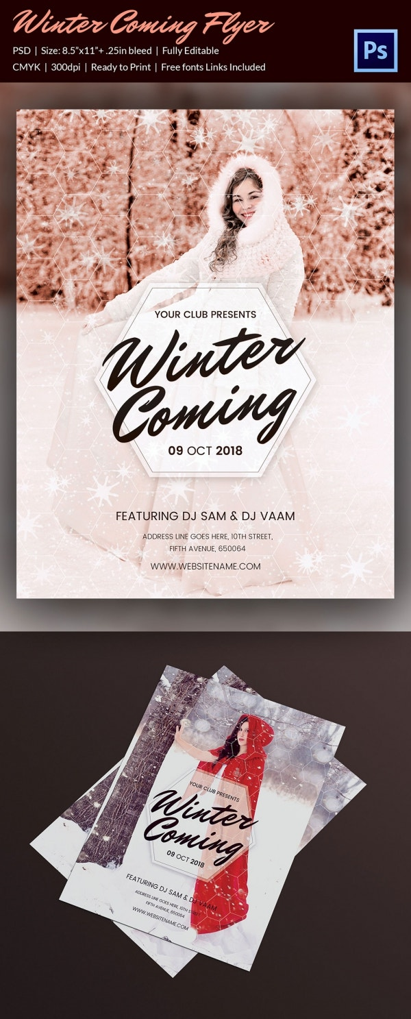 Beautiful Christmas Winter Party Flyer Template PSD Design