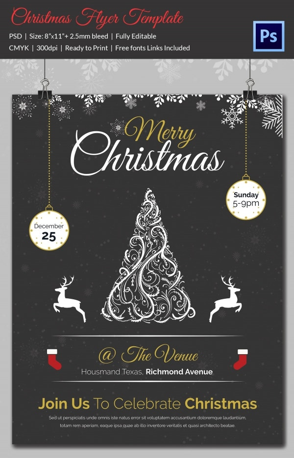 Flat Xmas Party Flyer Template PSD Download