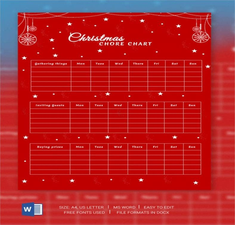christmas chore chart template 788x753