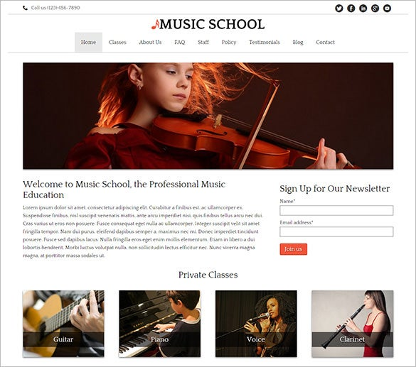 wordpress theme for children music schools